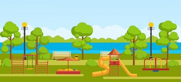 Общественный парк с детской площадкой.
