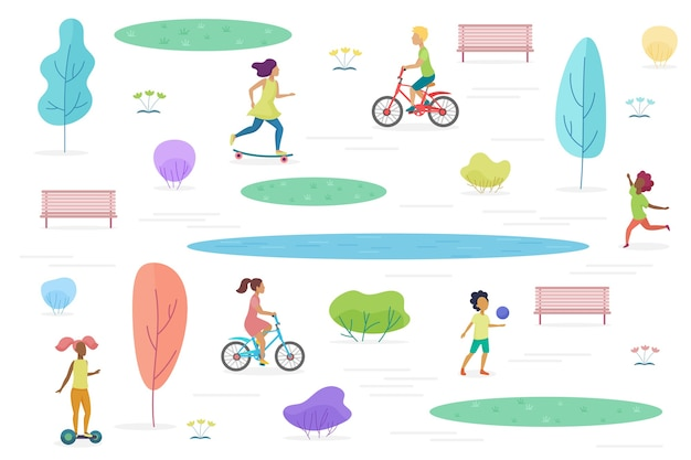 Public park with walking, riding and playing kids isolated. amusement park for children  illustration