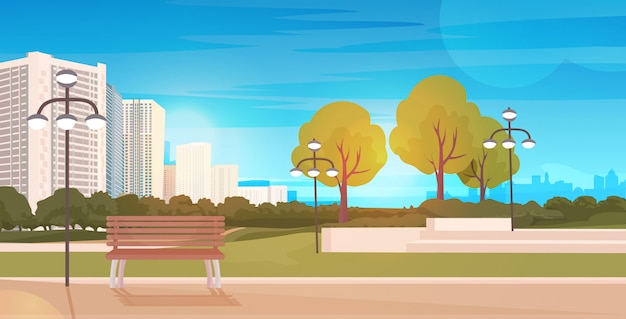 Public park with wooden bench and streetlights cityscape background horizontal