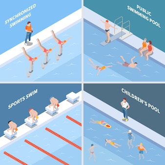 Public pool synchronized swimming sports race and children basin isometric concept isolated