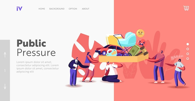Public pressure landing page template. tiny characters put huge box full of society attributes on man shoulders. family, career, money as imposed life values. cartoon people vector illustration