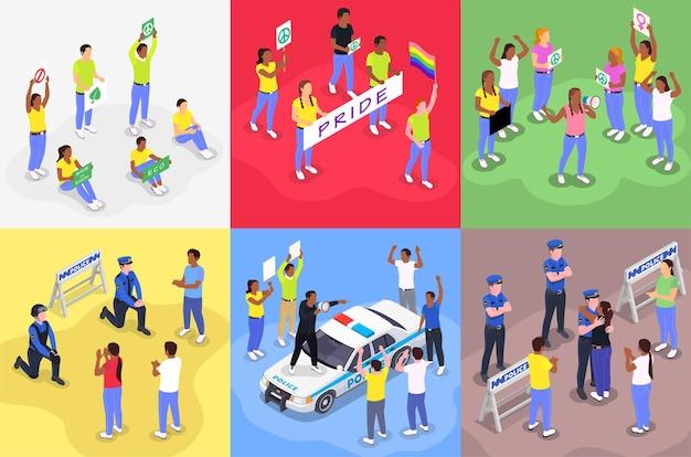 Concetto di design isometrico di dimostrazione di protesta pubblica con caratteri umani di agenti di polizia che fanno pace con i manifestanti