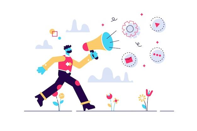 広報と情事、コミュニケーション、広報代理店および仕事の概念。孤立した概念図。小さな頭と大きな足の人。ウェブサイトのヒーロー画像。