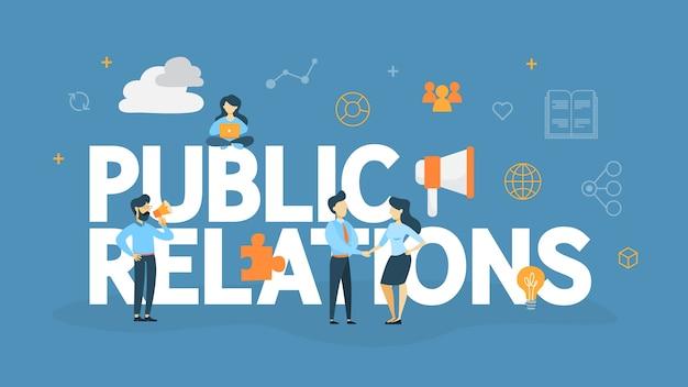 広報のコンセプトです。あなたのビジネスを宣伝するためにマスコミを通して発表をする考え。管理およびマーケティング戦略。図