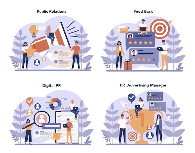 Public relations concept set
