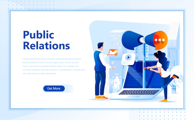 Public relations flat landing page template of homepage