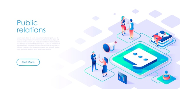 Public relations isometric landing page template