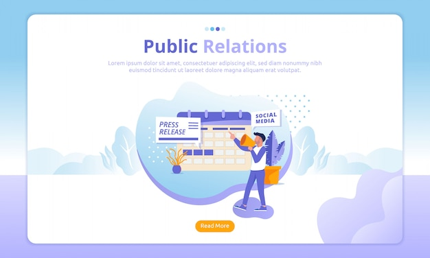 Public relations landing pages