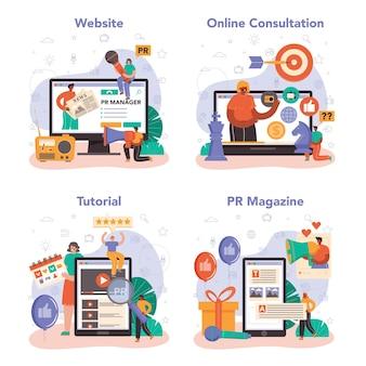 홍보 관리자 온라인 서비스 또는 플랫폼 집합입니다. 고객과의 관계를 구축하고 발전시키는 전문가. 온라인 상담, 튜토리얼, 잡지, 웹사이트. 평면 벡터 일러스트 레이 션