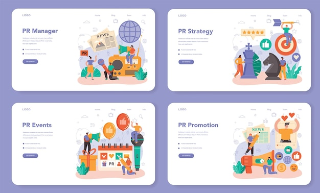 Public relations manager web banner or landing page set. specialist developing commercial brand advertising and building relationships with customer. flat vector illustration