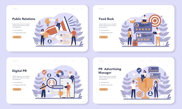 Public relations web landing page set. idea of making announcements through mass media to advertise your business. management and marketing strategy. flat vector illustration