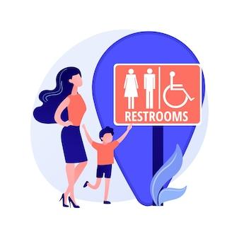 公衆トイレの場所。トイレの看板、男性と女性の洗面所、トイレとジオタグのシンボル。洗面所の看板の紳士と女性のシルエット。ベクトル分離概念比喩イラスト