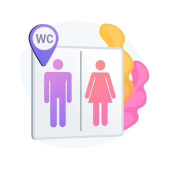 Public restrooms location. toilet sign, male and female washrooms, wc and geotag symbol. gentleman and lady silhouettes on lavatory signboard.