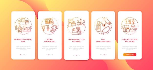 개념이 격리 된 공공 안전 온 보딩 모바일 앱 페이지 화면