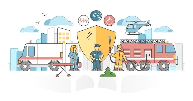 Public safety protection by police, ambulance and firefighter outline concept.