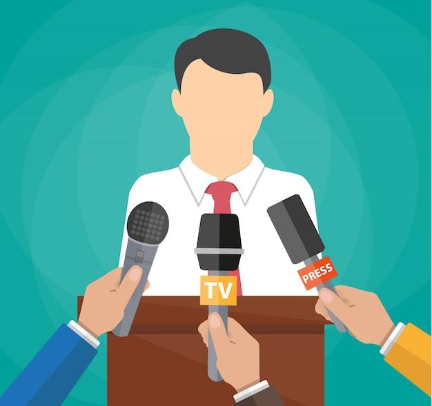 Public speaker and hands of journalists