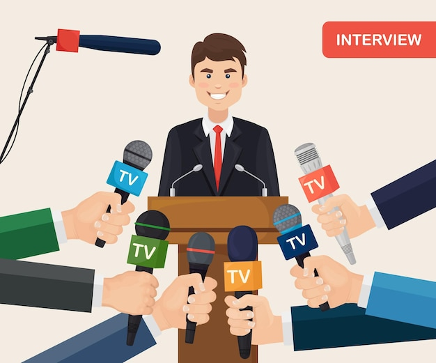 Public speaker and hands of reporters with tv microphones