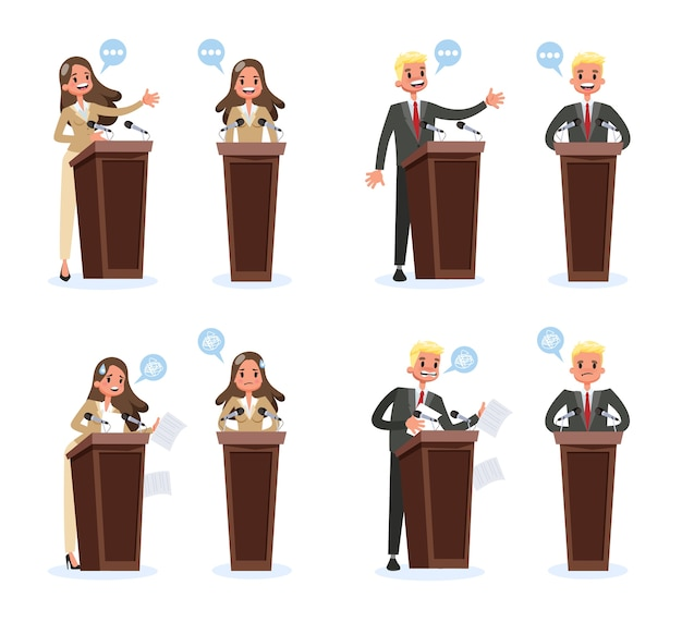 Набор ораторов. деловой персонаж, стоящий в костюме