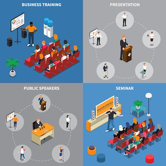 Public speakers isometric design concept