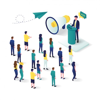 Public speaking 3d isometric with loudspeaker talking to crowd