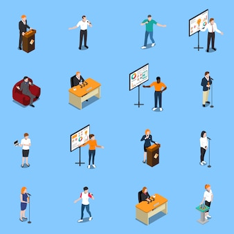 Public speaking isometric s set