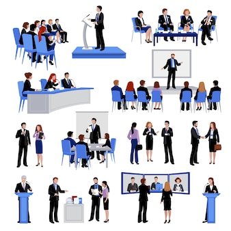 Public speaking people flat icons collection with conference meetings