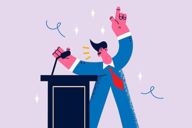 Public speaking and politics concept