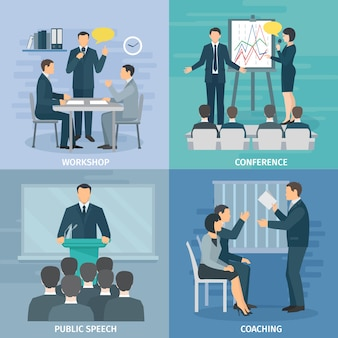 Public speaking skills coaching workshop presentation and conference 4 flat icons composition square