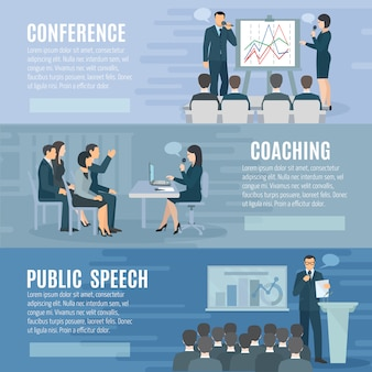 Public speech coaching and visual aids presentation skills information 3 horizontal banners
