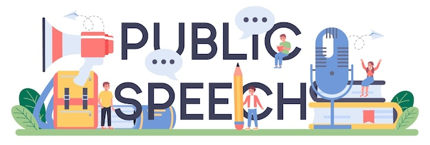 Public speech typographic header illustration