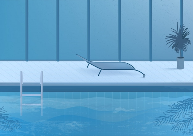 Public swimming pool inside interior. illustration.