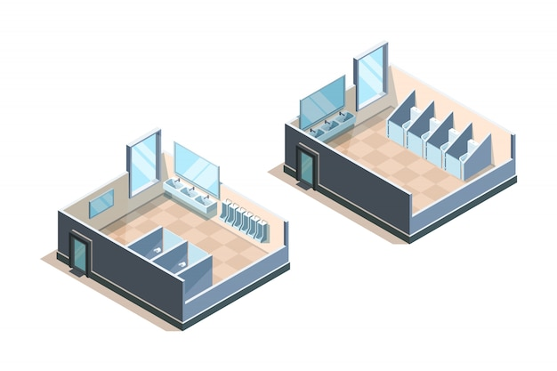 Public toilet. isometric washroom for male and female people modern sink  illustrations