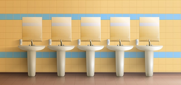 Interno minimalista di servizi igienici pubblici