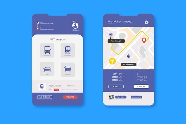 Concetto di app di trasporto pubblico