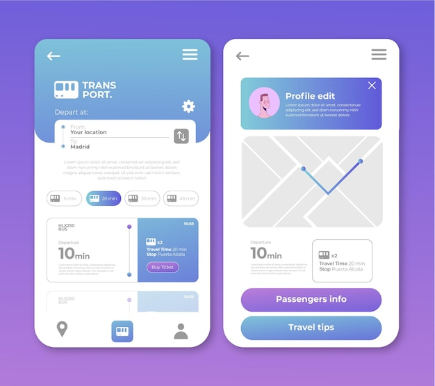 Public transport app design