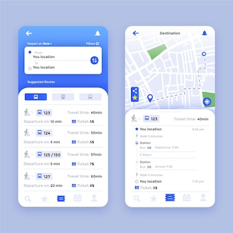 Public transport app interface