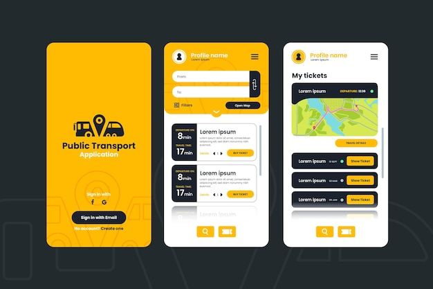 Public transport app interface
