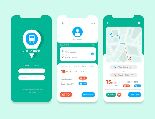 Public transport app interfaces collection