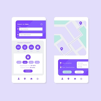 Public transport app interfaces set