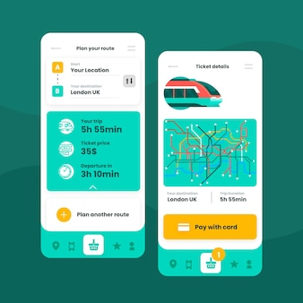 Public transport app interfaces templates