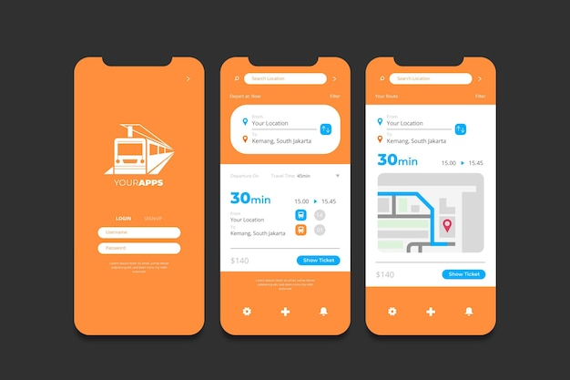 Public transport app interfaces