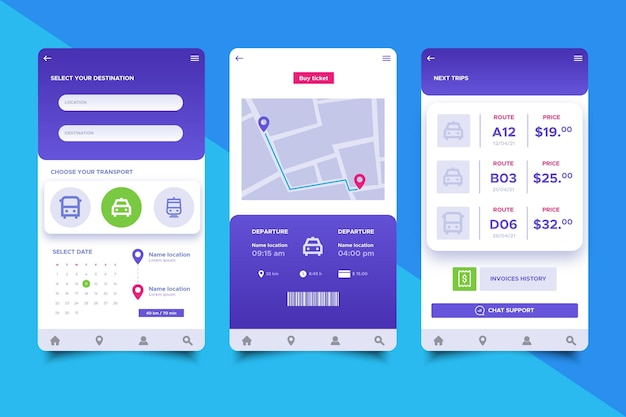 Public transport app screens collection