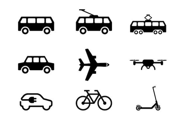 Public transport black icon set on white background