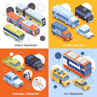 Public transport  city carriers  personal vehicles trucks for cargo delivery isometric design concept illustration