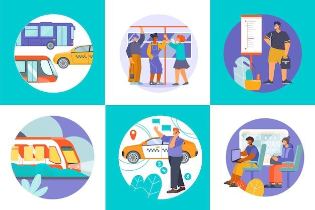 Набор составов общественного транспорта