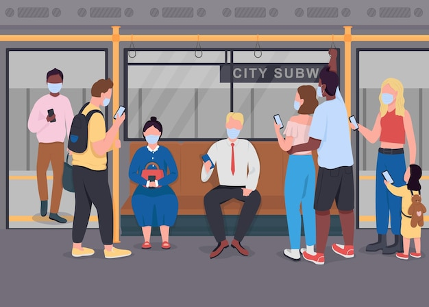 Public transport during epidemic flat color vector illustration. new normal. passengers with mobile phones in medical masks 2d cartoon characters with subway train interior on background