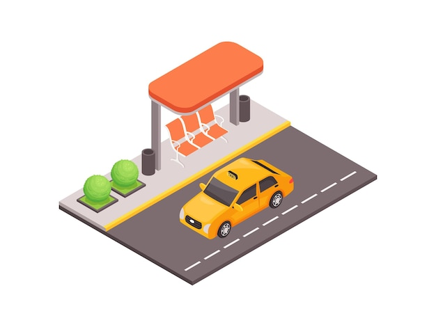 Public transport isometric illustration with modern bus shelter and taxi car on road