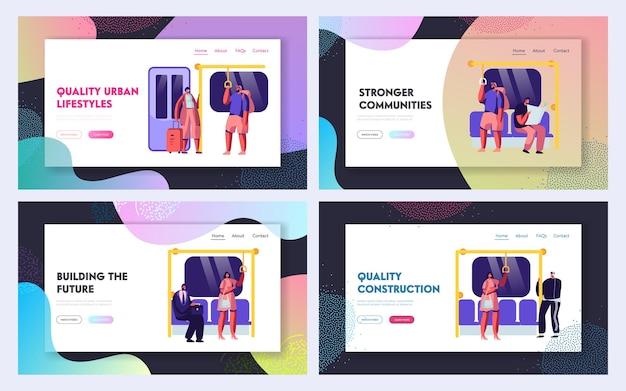 公共交通機関のメトロウェブサイトのランディングページテンプレートセット。
