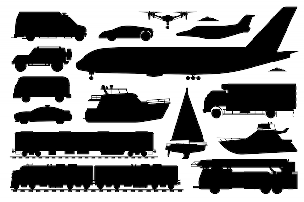 公共交通機関セット。乗用車のシルエット。孤立した公共列車、救急車、パトカー自動車、バス、飛行機、ヨット輸送フラットアイコンコレクション。道路、航空、海上輸送