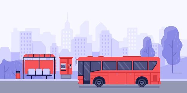 Остановка общественного транспорта и автобус. векторная автобусная остановка и транспортная общественная служба иллюстрации